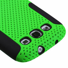 Samsung Galaxy S III 3 MESH Hybrid Silicone Rubber Skin Case Phone Cover Green
