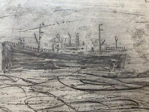 l s lowry signed Drawing Of Sailing Boat (seaburn Hotel )