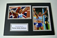 Dame Kelly Holmes Signed Autograph A4 photo display Olympic Double Gold & Coa