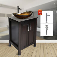 24'' Bathroom Vanity Single Cabinet Wood Glass Oval Sink Bath Bowl Faucet Set