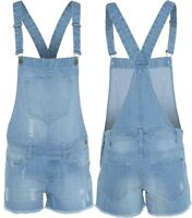 WOMENS LADIES STRETCH LIGHT BLUE WASH DISTRESSED DENIM DUNGAREES SHORTS PLAYSUIT