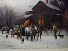 Vintage Martin Grelle (Untitled) Cowboys with Firewood Wagon in Winter Art Print