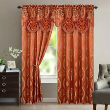"""SET OF 2 AURORA JACQUARD CURTAIN PANELS WITH ATTACHED AUSTRIAN VALANCE 84"""" LONG"""