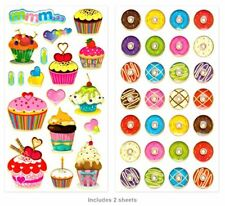 Handmade Glitter Sticker Scrapbooking  Sweet Treats Donuts Cupcakes Bakery items