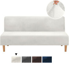 Velvet Armless Sofa Bed Cover Stretch Slipcover Futon Protector Machine Washable