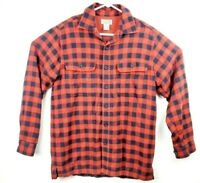 LL Bean Shirt Red Plaid Long Sleeve flannel Mens Size s fall cotton linen