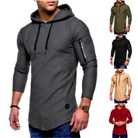 Men's Slim Fit Hoodies Long Sleeve Muscle Tee T-shirt Casual Tops Hooded Blouse