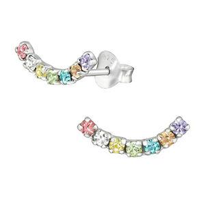 925 Sterling Silver Curved Crystal Stud Earrings