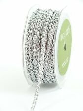 1/4 Inch wide Metallic / Chain Cord silver Ribbon price for 2 yard