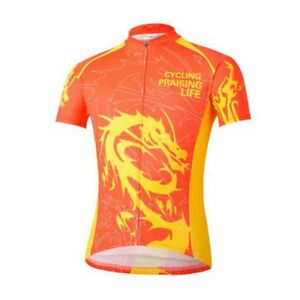 Red Dragon Bike Short Sleeve Top Shirt Clothing Bicycle Cycling Jersey S-4XL