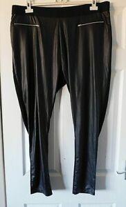 CAPSULE @ JD WILLIAMS Black Part Faux Leather Leggings Plus Size UK 26 EUR 54