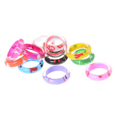 10Pcs Fancy Acrylic Resin Kids Rings Mixed Colours Children Kids Costume Gift @#
