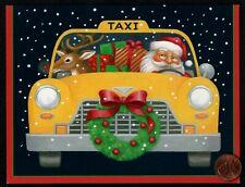 Vintage Caspari Christmas Santa Claus Taxi Reindeer - Christmas Greeting Card