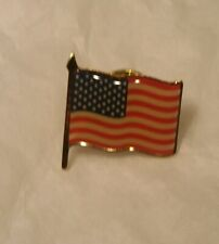 2 Lapel or Hat Pins - Waving American Flag - Usa - U.S.A.