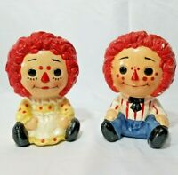 Vintage Inarco Raggedy Ann And Andy Ceramic Planters