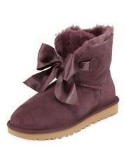 UGG Australia Women's Gita Bow Mini Purple Suede Boots Size 7 US