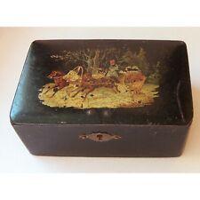 Antique Lacquer Box Russian Troika 19th century Papier-mache Hand-painted  Rary