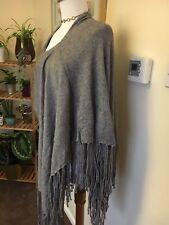 Ladies New  new look grey poncho cape Pashmina wrap shawl Lagenlook  ONE SIZE