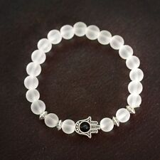 Gold Silver Hamsa Hand White Transparent Stone Beads Yoga Reiki Lucky Bracelets