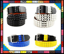 "Mens Womens 3Rows Metal Pyramid Studded Leather Belt Punk Rock Goth Emo 30""-44"""