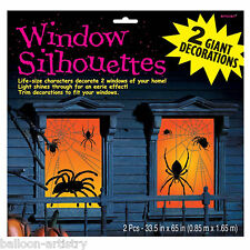 2 Halloween Horror Party Sinister SPIDERS Webs Window Posters Decorations