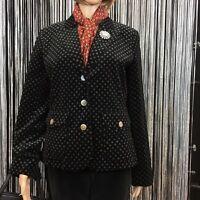 Women's Eddie Bauer Black Velvet Velour Cotton Blazer Jacket 3 Buttons Size 10