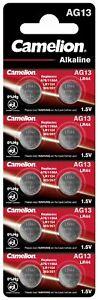 AG13, LR44, A76, 357, Knopfzellen Batterien Alkaline 1,5V Camelion im 10er-Pack