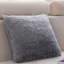 Cushion Cover Faux Fur Shaggy Plush Square Pillow Case Dyed Soft Bed Decoration