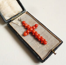 Grande Croix pendentif corail bijou ancien 19e siècle coral gold cross corallo