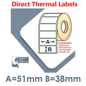 51mm x 38mm WHITE Direct Thermal Labels, fits BROTHER TD-4000 / TD-4100N