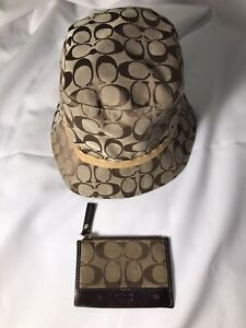 COACH SIGNATURE MONOGRAM BUCKET HAT KHAKI BROWN AND WALLET COIN PURSE AUTHENTIC