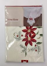 Christmas Tablecloth Poinsettia Design 70in Round Christmas Blossoms Collection