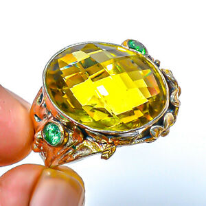 Lemon Quartz & Emerald Quartz 925 Sterling Silver Two Tone Ring s.7.5 T926