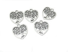 10pz charms ciondoli cuore albero della vita colore tibetano 18x17mm bijoux