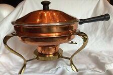 Vintage Copper Brass Chafing Dish Buffet Warming Warmer Tray Pan Handle Burner