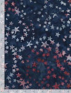 Tonga Batik Fabric - Freedom Red Star Toss on Blue - Timeless Treasures YARD