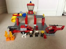 Lego DUPLO Fire station 5601 (retired) w/ vehicles, figures, box + Instructions