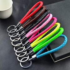 Fashion Braided PU Leather Strap Keyring Keychain Car Key Chain Ring Key Fob 3C