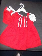Hartstrings 100%Cotton Broderie Anglais Dress & Pants Set 3-6m 64cm Red Mix BNWT