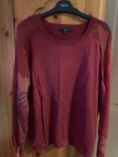 Ladies Next Burgandy Crew Neck Jumper With Floral Sleeves - Size 20