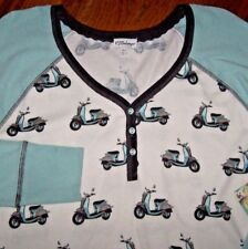 NWT PJ Salvage Ivory/Mint Green MOPEDS~SCOOTERS Thermal Pajama/Lounge Top L CUTE