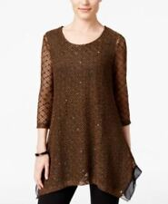 JM Collection Sequined Scoop Neck Sheer 3/4 Sleeve Knit Top Willow Brown Black M