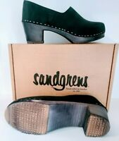 "SANDGRENS ""Bridget"" Handmade Swedish Black Leather Wooden Clogs Womens 41 US 10"