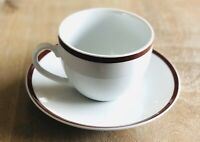 8 Pieces Williams Sonoma BRASSERIE RED Cups & Saucers (4 Sets)