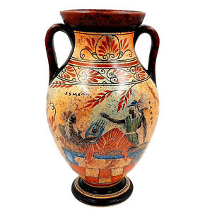 Greek Amphora 26cm,Achilles with Hector and God Hermes with Semele