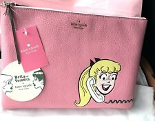 NEW Kate Spade x Archie Comics Betty & Veronica Lg Zip Clutch Pouch Pink Multi