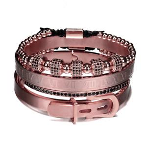 4Pcs/Set Luxury Royal Roman CZ Bracelets Bangles stainless steel Men's Jewelry