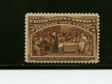 U. S. #234 (Us403) Columbus Wants Aid Queen Isabella, 5c Chocolate, Mnh, Cv$140.