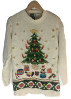 Beldoch Popper Sweater Christmas Tree Holiday Turtleneck Ugly Pullover Size M