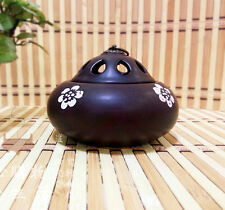 Brown Handmade Ceramic Incense Burner for Charcoal Tablets Coil Spiral Buddhistn